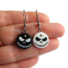 Black and White Round Nightmare Before Christmas Goth Skull Emo Earrings Jewelry