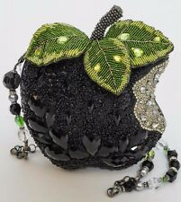Mary Frances Wicked Black Apple Beaded Jeweled Handbag Bag, Dustbag, Strap