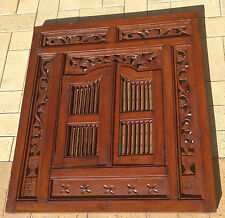 Balinese Wall Mirror with Doors Stained Timber Asian Ornamental W 80cm x H 90cm