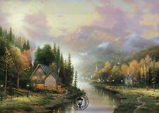 Simpler Times I - House, Stream, Trees, Sky etc - Thomas Kinkade Dealer Postcard