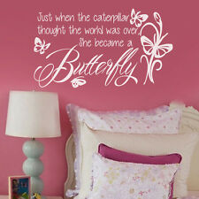 Nursery Girl Wall Sticker She became a Butterfly Flowers Quote Vinyl Decor Idea