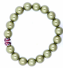 Vintage style silver tone enamel ladybird and pearl stretch bracelet