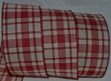 Wired Ribbon~Christmas Rustic Plaid~Primitive Woven Red~Ivory~Wreath~Holiday~Bow