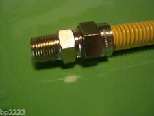 "COATED SS FLEX GAS CONNECTOR 36"" X 1/2"" MIP X 1/2"" MIP W/1/2"" VALVE & FITTINGS"