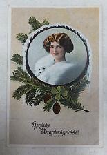 AK Neujahrskarte Frauenbildnis Tannengrün gel. um 1915