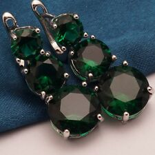 Charms Green Cubic Zircon White Gold Plated Round Lady Drop Earrings