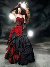 Fashion Red Black Wedding Dresses Taffeta Gothic Halloween Deb prom Bridal Gown