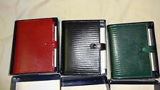 Filofax Pocket Tejus Original Green Red Black Purse Organizer Leather Vintage
