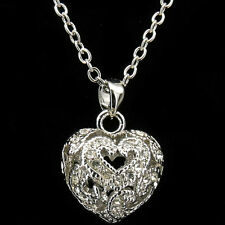 4D Heart Love Necklace Pendant Costume Jewelry 18k GP Silver Tone Crystal Clear