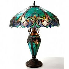 Stained Glass Tiffany Antique Style Bronze Table Lamp Elegant Vibrant Design
