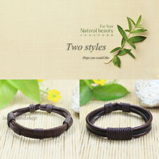 2pcs/Lot Handmade genuine Real pulseras cuero Braided leather bracelets men-P134