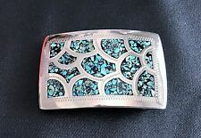 German Silver Bar-J  Turquoise  Belt Buckle