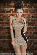 Sexy Kleid Leopard One Shoulder Dress Kostüm Minikleid Partykleid Club Mode  M/L