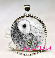 Yin Yang Owl Necklace Jewelry Zen Nature Art Pendant with silver Chain #XP-552
