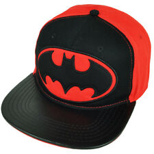 Batman Dark Knight Snapback Red Black Hat Super Hero Cartoon DC Comics Flat Bill
