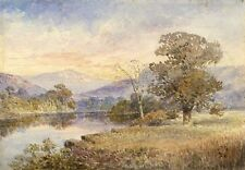 J.L., River Landscape with Mountains - Original 1910 watercolour painting