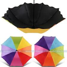 Women Water-Reactive Change Color Folding Windproof Rain Rainbow Umbrella/Brolly