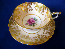 Paragon England Pastel Peach ~ PINK ROSE ~ Gold BELL flower gilt TEACUP cup