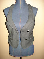 GUESS Jeans Stretch Gray Tweed Cotton Blend Double Breasted Career Vest Size S