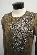 MMA ELITE beige big cross waffle thermal light sweater shirt sz L mens L/S#7383