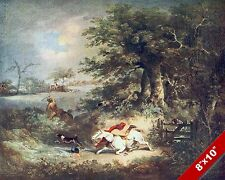 RIDING ACCIDENT FOX HUNT HORSE FOXHUNTING HUNTING ART PAINTING REAL CANVAS PRINT