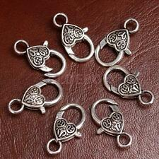 20pc Retro Style Heart Lobster Lock Clasps for Jewelry Findings Craft DIY Silver