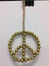 Pottery Barn Gold Beaded Peace Sign Christmas Holiday Ornament Gift Charm