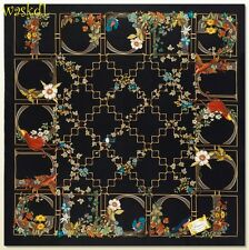 "GUCCI black Exotic BIRDS Fall Flowers GOLD CAGE silk 35""-square Scarf NWT Authen"