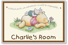 "Winnie The Pooh 6""x4"" Personalised Kids' Bedroom XL Door Plaque *ANY MESSAGE*"