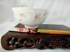 2 JAPANESE PINK BLOSSOM WHITE RICE SOUP NOODLE BOWL 2 CHOPSTICKS CHINESE PARTY