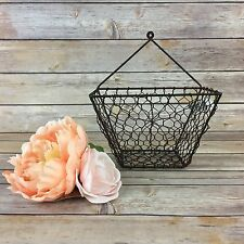 Metal Farmhouse Decor Hanging Wall Basket NWT Primitive Rustic Vintage