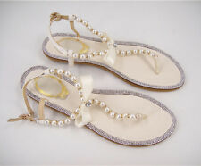 Handmade Ivory Flat Beaded Bridal Flip Flop Lilac Pearl Wedding Sandals UK3-9