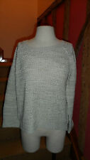 Large Boat Neck Long Sleeve Honeycomb Knit Sweater in Oatmeal by Bluenotes