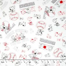 "Snoopy Peanuts All Stars Character Line Drawing 100% cotton 44""  fabric x yard"