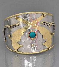 SILVER GOLD TONE GUN SIX SHOOTER PISTOLS TURQUOISE CUFF WESTERN COWGIRL BRACELET