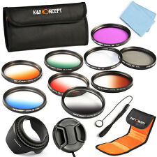 Pro 58mm Lens Filter Kit UV CPL Polarized FLD Graduated Color Hood Cap Keeper