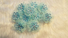UK-Fabric-Blue, Flower ,Organza Ribbon-30mm x 10 Appliques, Trimmings,Wedding