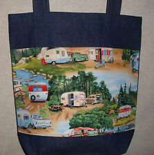 NEW Handmade Large Classic RV Camper Travel Trailer Campground Denim Tote Bag