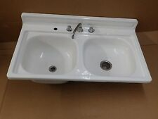 Vtg Mid Century Steel White Porcelain Double Basin Old Kitchen Farm Sink 2384-16