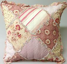 Shabby Chic Throw Cushion Pillow Cover Pink Rose Beige Cream Green Patchwork45cm