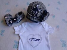 Crochet Dallas Cowboy Baby Girl Hat, Booties, Onesie (0-3 month, acrylic)