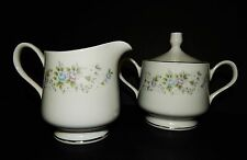 2 pc WHITE Carlton Corsage SILVER RIM CREAMER and SUGAR BOWL Fine China 481