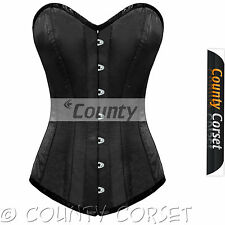 Steel Boned Long Torso Overbust Bustier Back Lacing Black Satin Corset Korset