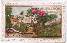 For my Friend's Birthday -  Vintage Postcard - Cottage & Floral Design