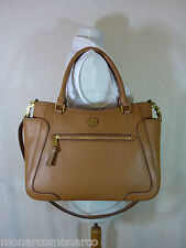 NWT Tory Burch Bark Brown Leather Large Frances Tote/Cross Body Bag $525