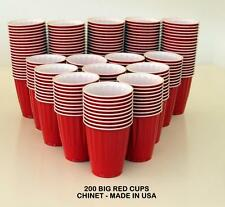 200 AMERICAN LARGE 523ML RED PARTY CUPS BEER SCHOONER FRAT KEG PONG PLASTIC USA