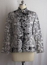 NWT $98 chico's silk & linen embroidered floral jacket size 1 (8-10)