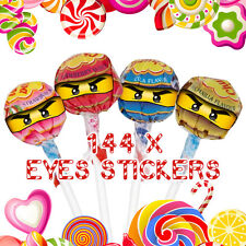 144 x Lego Ninjago Eyes Stickers for Lollipops Birthday Party Celebration Labels