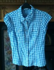 NEW LOOK BLUE CHECK SIZE 12 GIRLS SHORT SLEEVE BLOUSE