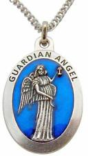 Guardian Angel Medal 1 1/2 Inch Pendant Metal Medallion w/ Stainless Steel Chain